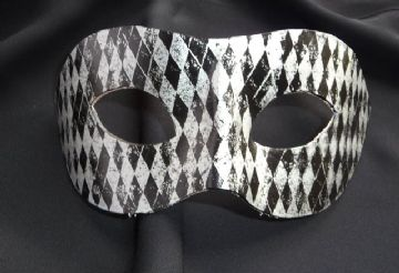 Genuine Handmade Unique Embellished Black & Silver Harlequin Leather Mask